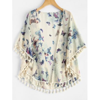 Bohemian Collarless Half Sleeve Butterfly Print Fringed Kimono For Women