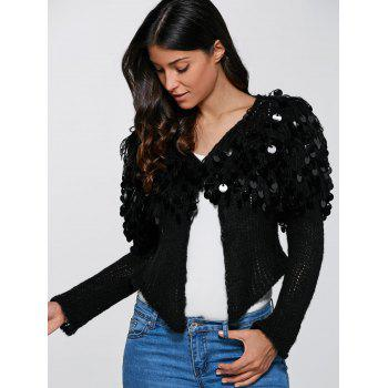 Hollow Out Sequined Short Hand-Knitted Mohair Cardigan