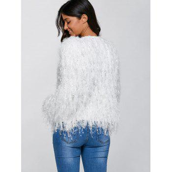 Feather Tassels Hand-Knitted Cardigan - WHITE M