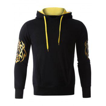 Hooded Golden Printed Long Sleeve Hoodie