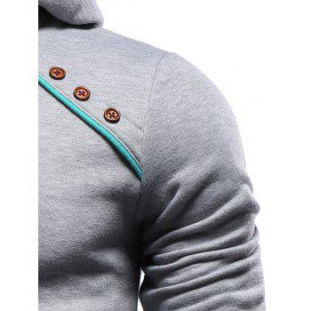 Hooded Oblique Buttons Embellished Color Block Splicing Hoodie - GRAY XL