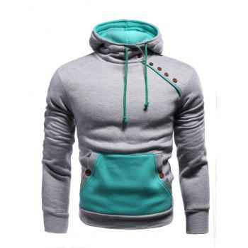 Hooded Oblique Buttons Embellished Color Block Splicing Hoodie