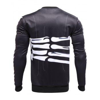 Crew Neck 3D Bones of Hand Surround Print Sweatshirt - BLACK M