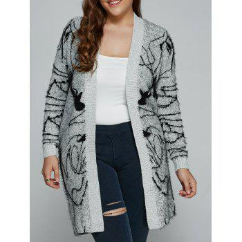 Plus Size Print Thick Sweater Cardigan GRAY