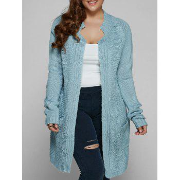 Buy Plus Size Fisherman Knitted Pocket Cardigan LIGHT BLUE