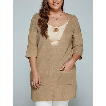 Buy Plus Size Plunge Neck Front Pocket Knitwear LIGHT KHAKI