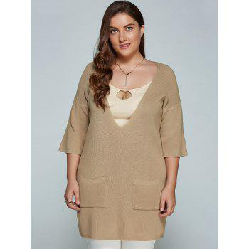 Plus Size Plunge Neck Front Pocket Knitwear - LIGHT KHAKI LIGHT KHAKI