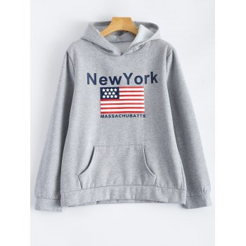 Pocket Fleece New York Letter Flag  Hoodie - GRAY GRAY