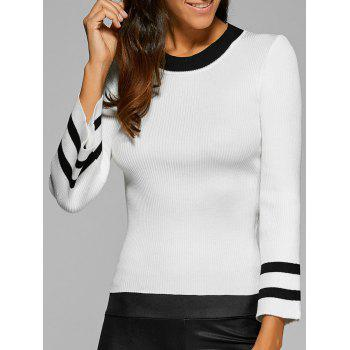 Ribbed Knitted Bell Sleeves Pullover