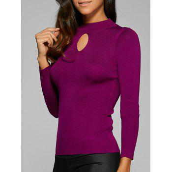 Ribbed Hollow Out Elastic Pullover