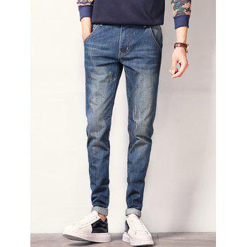 Scratched Zipper Fly Tapered Jeans