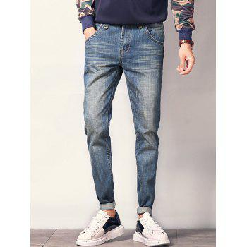 Zipper Fly Pocket Design Scratched Tapered Jeans