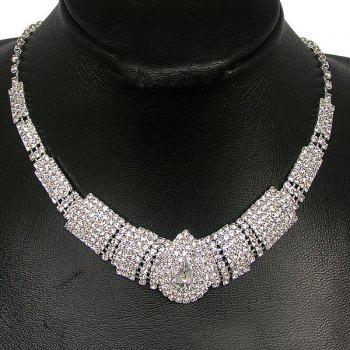 Rhinestone Tiered Teardrop Shape Necklace Set