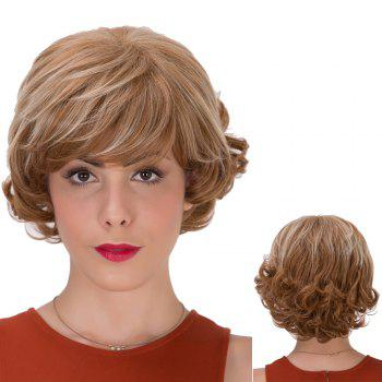 Brown Highlights Short Full Bang Curly Synthetic Wig