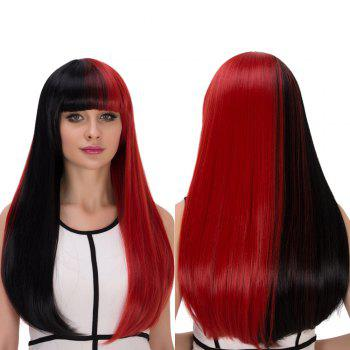 Cosplay Synthetic Double Color Long Full Bang Tail Adduction Wig