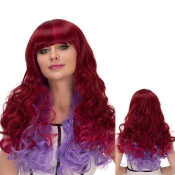 Cosplay Synthetic Long Wine Red Gradient Purple Full Bang Wavy Wig