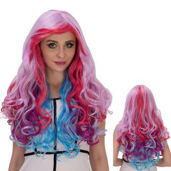 Cosplay Synthetic Long Colorful Inclined Bang Wavy Wig