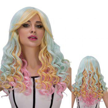 Cosplay Synthetic Long Colorful Oblique Bang Wavy Wig