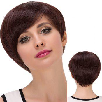 Short Oblique Bang Attractive Straight Synthetic Wig