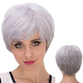 Short Oblique Bang Straight Fluffy Synthetic Wig