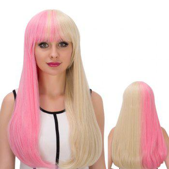 Cosplay Long Full Bang Tail Adduction Double Pink Gold Color Synthetic Wig