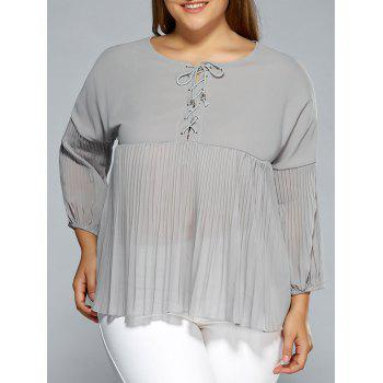Drop Shoulder Criss Cross Chiffon Pleated Blouse
