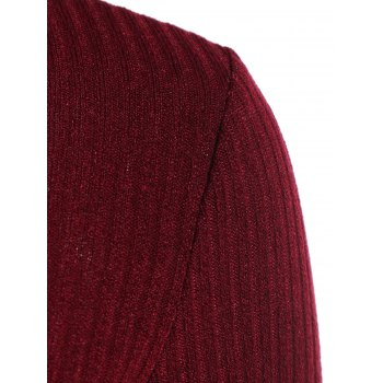 Ribbed Front Cut Out Knitwear - WINE RED XL