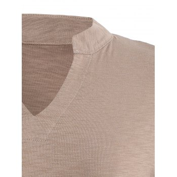 Plus Size V-Neck 3/4 Sleeve T-Shirt - CAMEL CAMEL