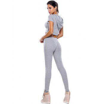 Casual Crop Top and Pants Fitness Gym Outfit - GRAY L