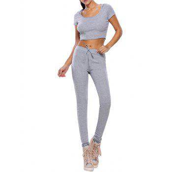Casual Crop Top and Pants Fitness Gym Outfit