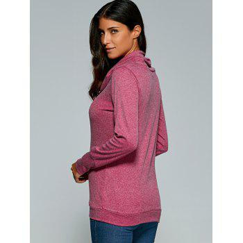 Cowl Neck Pullover Sweatshirt - PURPLISH RED XL