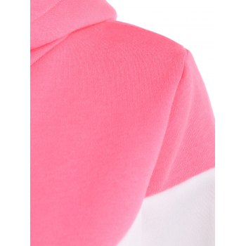 Long Sleeves Color Block Hoodie - PINK/WHITE 2XL