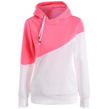 Long Sleeves Color Block Hoodie - PINK AND WHITE XL