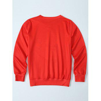 3D Print Pullover Sweatshirt - RED RED