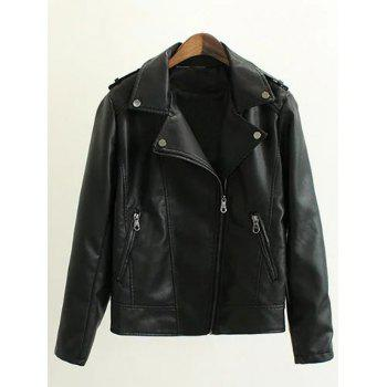 Zippers Embellished PU Leather Jacket