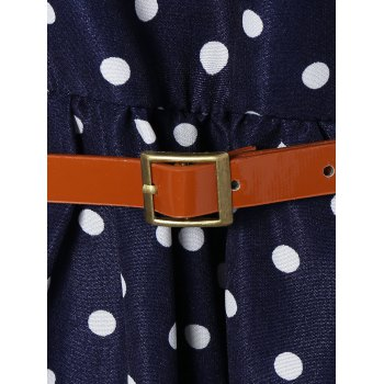 Polka Dot Belted A-Line Dress - S S