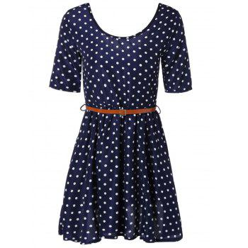 Polka Dot Belted A-Line Dress - DEEP BLUE S