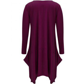 Asymmetrical Long Sleeve T Shirt Casual Dress - PURPLE L