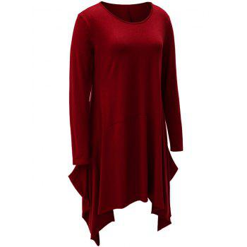 Asymmetrical Long Sleeve T Shirt Casual Dress - WINE RED M