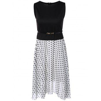Polka Dot Color Block Spliced Dress