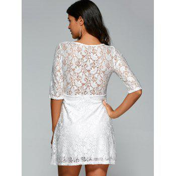 Plunging Neck Zipper Lace Club Dress - WHITE XL