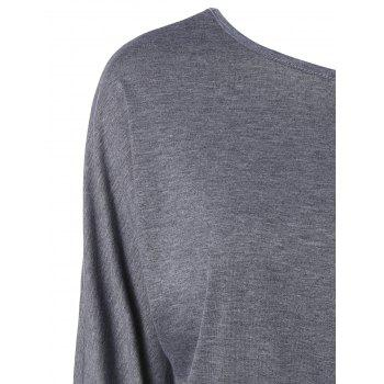 Long Skew Neck T-Shirt - GRAY XL