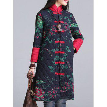 Floral Print Longline Padded Coat