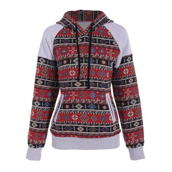 Front Pocket Pullover Jacquard Hoodie - COLORMIX XL