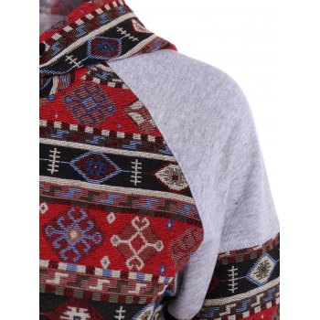 Front Pocket Pullover Jacquard Hoodie - COLORMIX L