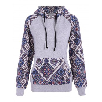 Front Pocket Jacquard Tribal Hoodie - GRAY AND BLUE GRAY/BLUE