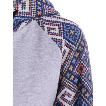 Front Pocket Jacquard Tribal Hoodie - GRAY/BLUE GRAY/BLUE