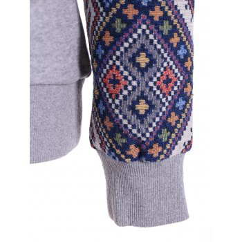 Front Pocket Jacquard Panel Hoodie - GRAY GRAY