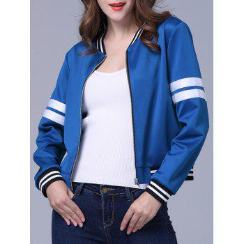 Stand Collar Stripe Bomber Jacket