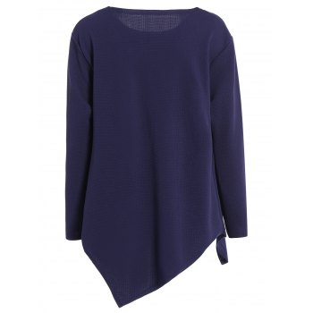 Plus Size Long Sleeve Handkerchief Top - PURPLISH BLUE 3XL